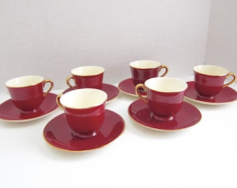 Mid Century Vintage Tea Cup Demitasse Cups Espresso Cups Vintage Steubenville Coffee Cup Burgundy Dishes Vintage Dishes Valentines Day C135