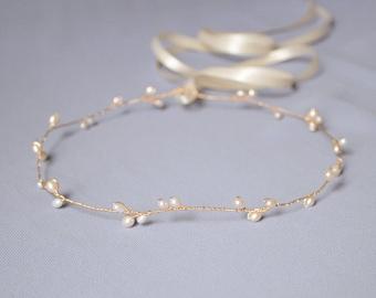 wedding halo, bridal circlet, pearl halo, bridal headband, rose gold wedding headpiece, pearl hair vine, bridal headpiece - AVERY