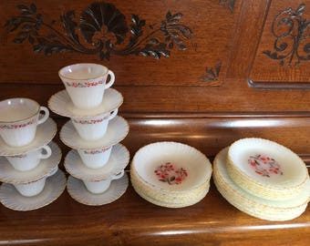 Termocrisa Vintage 1960's Era Dining Set Set of 7 Cups 8 Saucers 8 Bowls 8 Lunch Plates 8 Dinner Plates Red Flowers Gold Rim Scalloped Glass