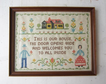 Vintage Welcome Cross Stitch Embroidery - Framed - 1960's