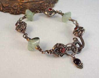 Sterling silver wire wrapped Bracelet Prehnite tibetan silver beads padparadscha antiqued sterling silver unique primitive boho bracelet