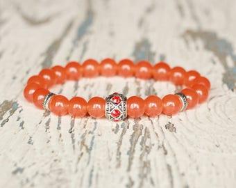 orange bracelet bright colorful jewelry beaded gift bracelet stretch stone jewelry summer bracelet women present for sister jade bracelets