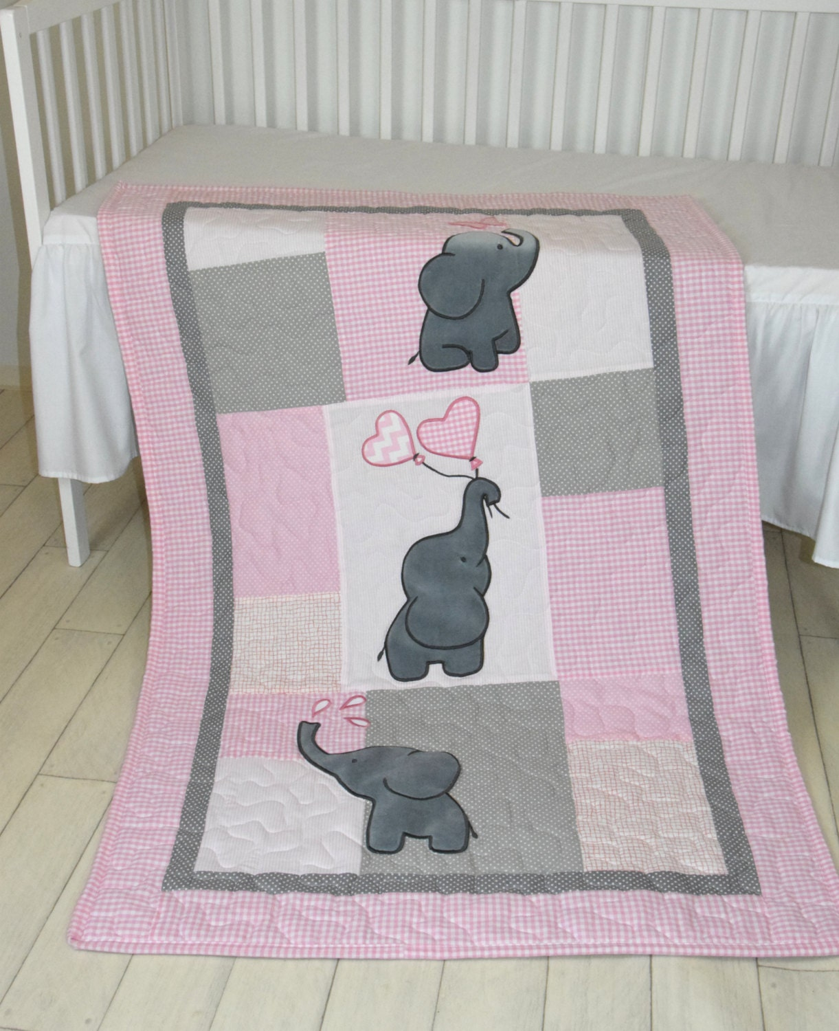 Baby Girl Quilt Elephant Blanket Pink Gray Crib Bedding