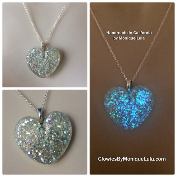 Holographic Galaxy Heart Glow Necklace