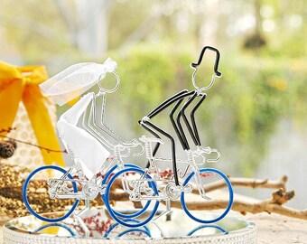 Wedding Cake Topper, Bicycle Wedding Cake Topper, Handmade, Road Bike Cake Toppers, Mr and Mrs Road Bikes with Dark Blue Wheels.