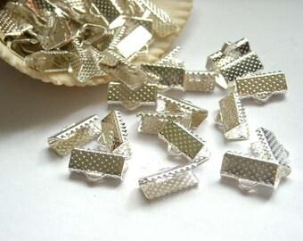 100 Silver Crimp Ribbon End Caps 13mm - 5-2-A