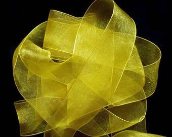 Yellow 6 mm wide organza Ribbon Spool 32 meters