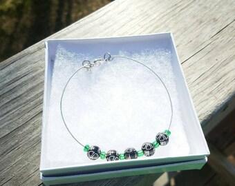 Green and black flower design  bracelet