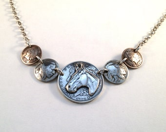 5 Coin Horse & Indian Necklace made from US silver coins including dollar