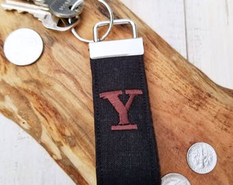 Mini KeyFob, Mini Key Fob, Man Key Fob, Keychain Men, Keyring, Key Ring, Personalized Key Chain, Unisex Fob, Monogram Fob Black Tuxedo Linen