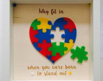 Autism Awareness jigsaw box frame -personalised
