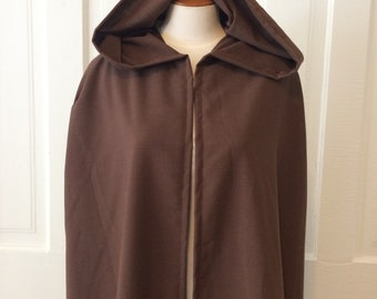 Dark Brown Hooded Cloak, Linen-look - Limited Edition**