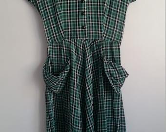 1940s plaid shirtwaist dress with oversized pockets