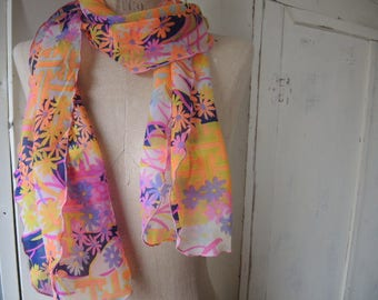 Vintage 1960s sheer nylon scarf mod era abstract floral  10 x 60 inches
