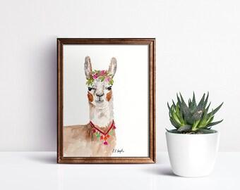 Watercolor Llama, original watercolor painting, original art, llama illustration, pink llama, llama decor, llama wall art, llama painting