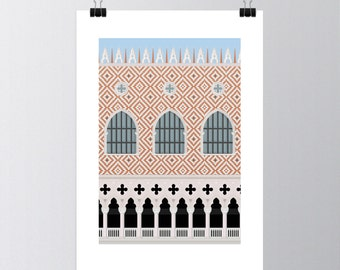 Affiche 50x70 poster graphic design architecture illustration Venetian Palace S01