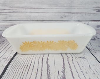 Vintage Glass Loaf Pan 522 Ovenware Made in USA 1.5 QT Cookware Dinnerware Bread Making Pyrex Style