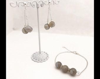 Set Agate earrings and bracelet