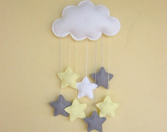 Grey yellow, gender neutral, felt cloud, stars, baby mobile, nursery decor
