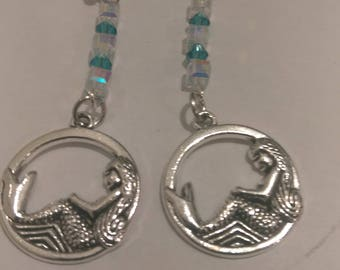 Silver Mermaid Earrings with Blue Green Iridescent Beads