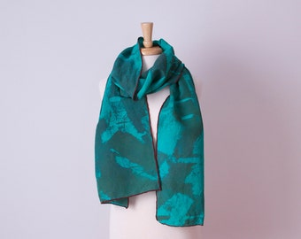 big olive and jade green hand painted silk linen scarf with burgundy edges