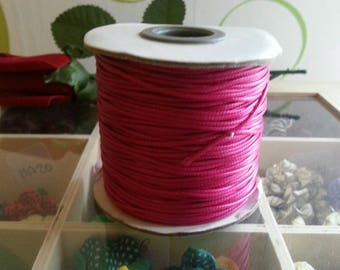 3 meters of Korean waxed polyester cord, mediumvioletred, 1 mm cord