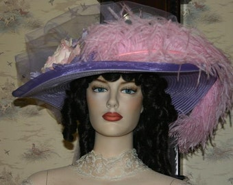 Victorian Hat, Lavender & Pink Kentucky Derby Hat, Oaks Hat, Ascot Hat, Pink Feather Hat, Tea Party Hat - Crystal Fairy