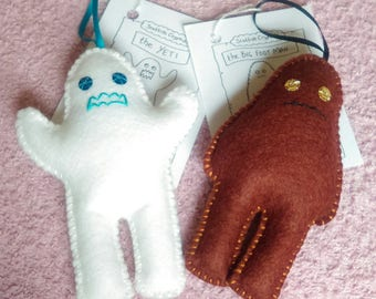 Felt Big Foot and Yeti hanging decoration odd couple