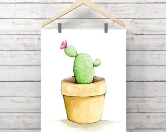 Cactus Watercolor Print - Cactus in a little pot Painting - Original Watercolor Art by Angela Weber