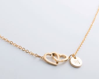Hand stamped Personalized Elegant Initial Double Hearts Necklace / 16k Gold Rose Gold White Gold Plated/ Christmas Bridesmaids Gift