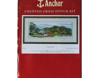 Crafty Mom Vintage Embroidery Kit, Anchor Counted Cross Stitch Kit The Dales, UK Embroidery Kit with Anchor Stranded Cotton