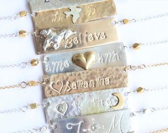 Custom Made Bar Necklace, Mama Necklace, Plate Name Necklace, Gold Plate Necklace, Silver Bar Necklace, Custom Bar Necklace, Bar Plate Gift