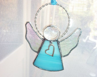Blue angel suncatcher.An angel with heart.