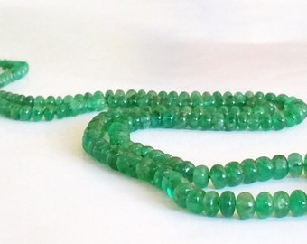 AAA Grade Natural Columbian  Emerald Gemstone Graduated Rondelle Bead Strand