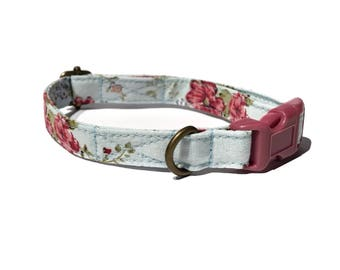 Juniper Lane - Shabby Chic Light Blue Dark Pink Roses Floral Flower Organic Cotton CAT Collar Breakaway Safety - All Antique Metal Hardware