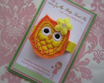 Girl hair clips - owl hair clips - girl barrettes