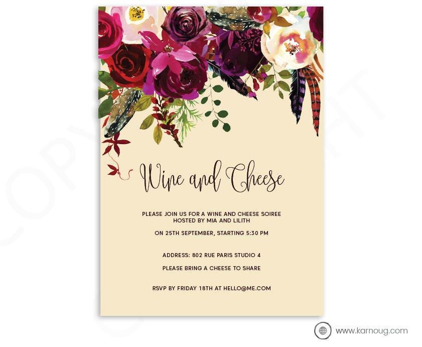 Wine and Cheese Printable Invitation Watercolor Printable