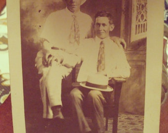 "Vintage ""Two Men"" Real Photo Postcard - Postmarked Circa 1916 - Excellent Vintage Condition!!"