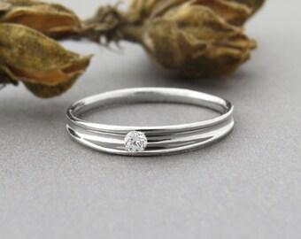 Unique Engagement Ring, Delicate Engagement Ring, Diamond Engagement Ring, Solitaire Ring, 14k Diamond  Ring, Modern Engagement Ring, Solid