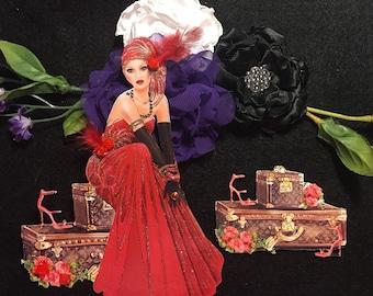 Ada Lovelace Art Deco Era Lady & Louis Vuittan Luggage Chipboard Embellishments 3D Roses DarlingArtByValeri Scrapbooking Mini Album Card