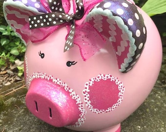 Large Pink Girl Piggy Bank, Custom Painted Bank, MADE To ORDER, Hand Painted Personalized Piggy Bank