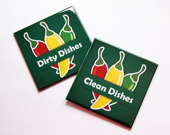 Dishwasher magnets, Hot Peppers, Clean dishes, Dirty dishes, Kitchen Magnet, Clean Dishes Magnet, Dirty Dishes Magnet, Green (7401)