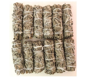 12 White Sage Bundles Bulk Smudge for Smudging, Cleansing, Negativity Clearing, House Cleansing, Healing, Prosperity, Air Purification