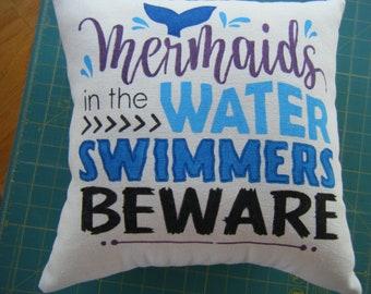Pillow - Mermaids in the Water SWIMMERS BEWARE