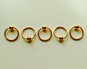 Ball Closure | BCR | Ring | Gold Coloured | Septum | Ear | Piercing | Body Jewellery
