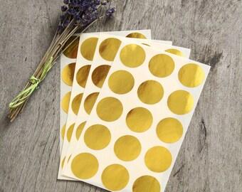 """1"""" metallic gold sticker, circle stickers, wedding sticker, dot paper label, round wedding envelope seal, self adhesive bag gift packaging"""