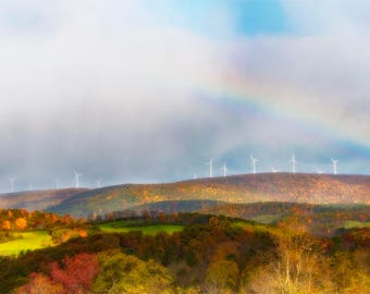 Autumn Countryside Wind Turbines Photo, red, yellow, blue, rainbow, fine photography prints, Wind Turbines in Autumn