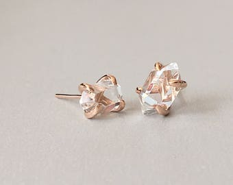 Rough Herkimer Diamond stud earrings Raw Herkimer Diamond and rose gold sterling silver post earrings Herkimer Diamond jewelry