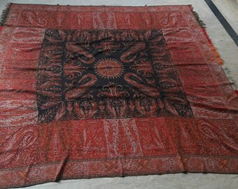 Antique paisly kashmir shawl 19th Century French  victorian hand made shawl antique shawl