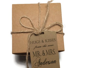 Wedding Favor Thank You Tags - Personalized Wedding Favor Tags - Hugs and Kisses From the New Mr. And Mrs.- Hang Tags - Set of 50